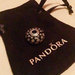 Pandora glass charm, black and tan. EUC!